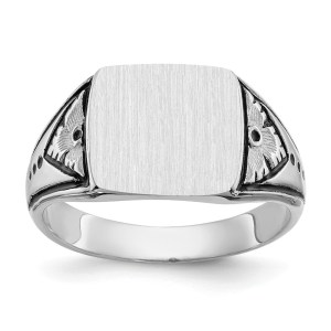 Men's 14 kt. white gold, signet ring that measures 11.00 mm X 11.5 mm. This signet ring is accented by an antiqued finish. This signet ring has a tapered band and a closed back. This ring is engravable.
