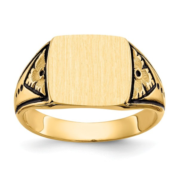 Men's 14 kt. yellow gold signet ring that measures 11.00 mm X 11.5 mm. This signet ring is accented by an antiqued finish. This signet ring has a tapered band and a closed back. This ring is engravable