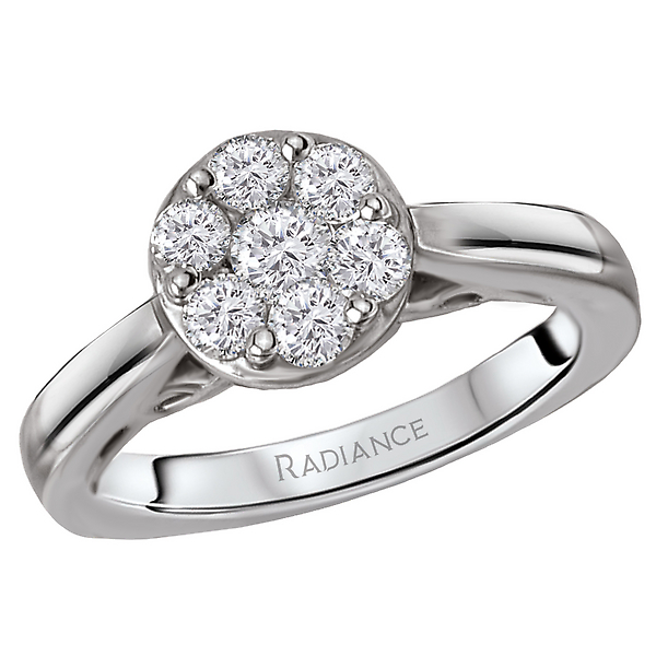 Bridal ring displays a sparkling round cluster of diamonds set in high polished 14k white gold