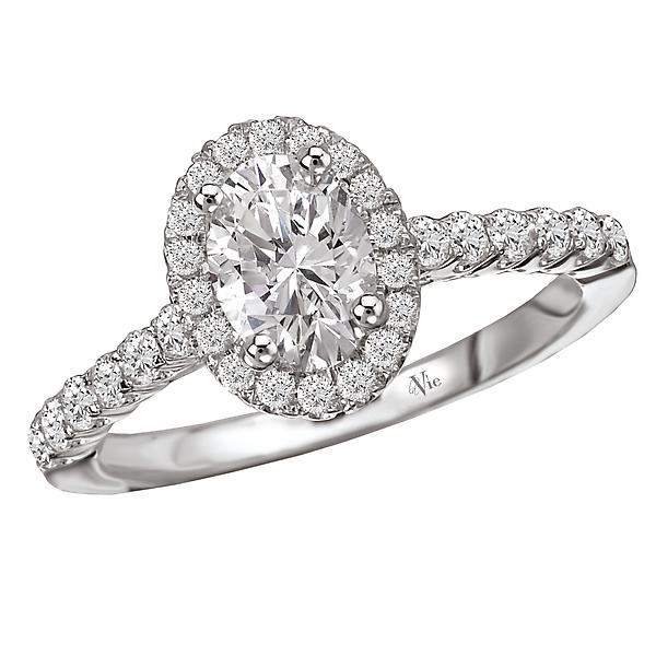 White Gold Oval Halo Semi-Mount Diamond Ring