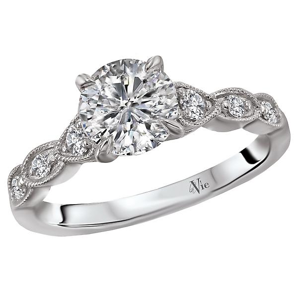 14K White Gold Milgrain Semi-Mount Diamond Ring
