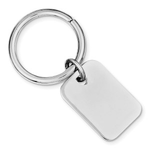 Sterling Silver, rhodium plated, 30 mm X 20 mm, rectangle key chain with a satin back and polish finish.