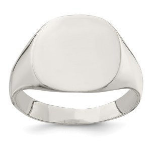 Men's sterling silver, closed back, oval shaped signet ring that measures 14 mm X 15 mm. This ring has a polished finish and is engravable.
