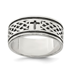 Men's sterling silver, cross ring with a weave design ring. This ring has an antiqued and polished finish.