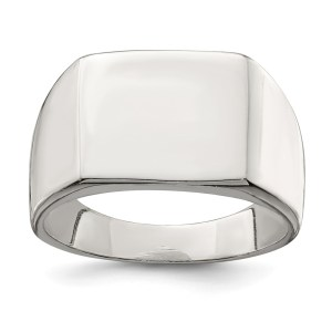 Men's sterling silver, 12 mm X 14 mm, closed back, solid signet ring with a polished finish. This ring is engravable.
