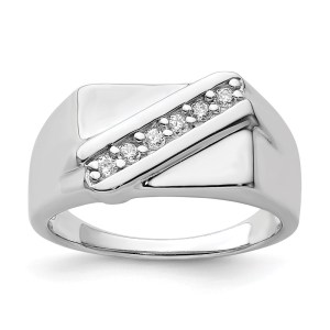 Men's sterling silver, rhodium-plated fancy ring. This ring is accented by six, prong set, round cubic zirconias and has a polished finish.