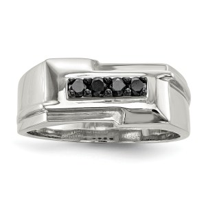 Men's sterling silver, rectangular shaped ring accented by four, prong set, round, black diamonds that all together weigh .25 pts. This ring has a polished finish.