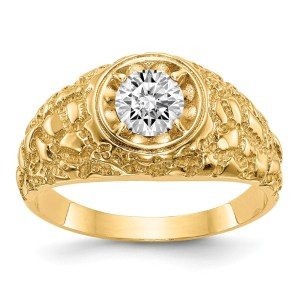 Men's 14 kt. yellow gold band with a prong, set, round, diamond that measures 6 mm and weighs 0.80 ctw. The ring has a tapered band with a hammered, nugget style and a polished finish.