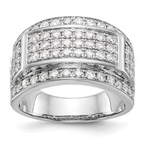 Men's 14 kt., white gold band, prong set, with seventy round diamonds that measure 1.9 mm each and that all together weigh 2.1 twt. This men's band is tapered and and has a polished finish