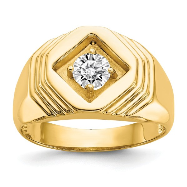 Men's 14 kt. yellow gold ring, prong set with a round, diamond that weighs .50 pt. The center stone is accented by hexagonal stacked grooves. This ring has a tapered band and has a polished finish.