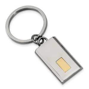Stainless steel, yellow gold IP plated, 32 mm X 19 mm, rectangle key chain with a polish finish.