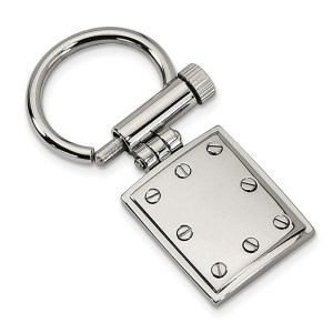 Stainless Steel, 25 mm X 22 mm, framed, rectangle, key chain with screw like accents and a polished finish.