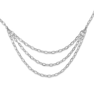 Lady's sterling silver, rhodium-plated , tiered multi-strand, 20 inch necklace designed by Leslie.