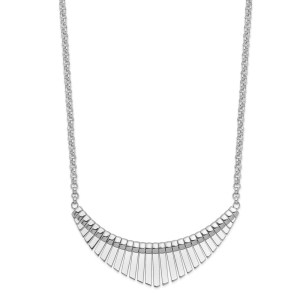 Ladies sterling silver, rhodium-plated necklace that has a textured design on one side and is reversible to a smooth finish on the other side. The pendant is attached with a rolo chain with a lobster clasp closure and measures 18 inches long.
