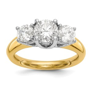 14K Two-tone 3-Stone Engagement Mounting