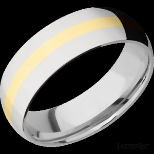 Men's 7 mm wide, domed, Cobalt Chrome band with one 2 mm centered inlay of 14 kt. yellow gold with a polish finish.