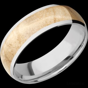 Men's 7 mm wide, doomed, Cobalt Chrome band with one band 5 mm wide centered inlay of Boxelder Burl Hardwood with a polish finish.
