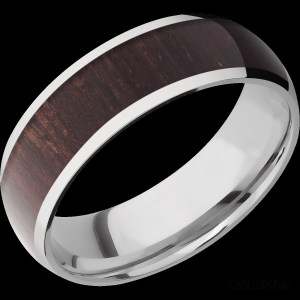 Men's 7 mm wide, domed, Cobalt Chrome band with one 5 mm wide, centered inlay of Wenge Hardwood