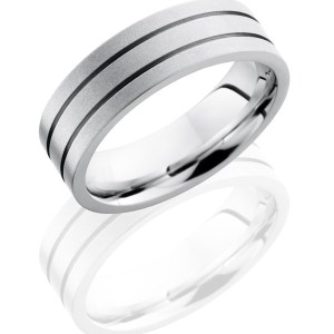 Men's 7 mm wide, flat, Cobalt Chrome, band with two accent grooves with bead blast finish.