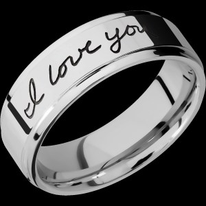 Men's 7 mm wide, flat grooved edges, Cobalt Chrome band with a laser carved Hand Writing pattern with a polish finish.