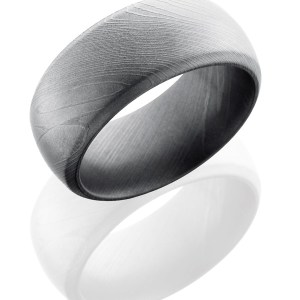 Men's 10 mm wide, domed bevel Damascus band with an bead blast finish.