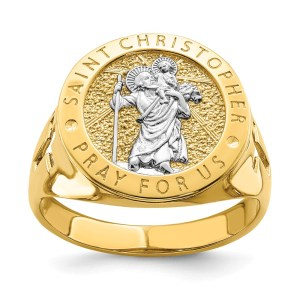 Men's 14 kt. yellow gold, open back, Rhodium Plated Saint Christopher Ring that measures 16.93 mm X 17.5 mm with a polished finish.