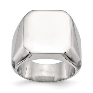 Men's stainless steel, square signet ring with a polished finish. This ring is engravable.
