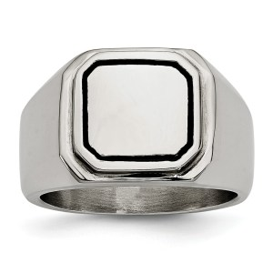 Men's stainless steel, signet ring with a framed accent of black enamel and with a polished finish. This ring is engravable.