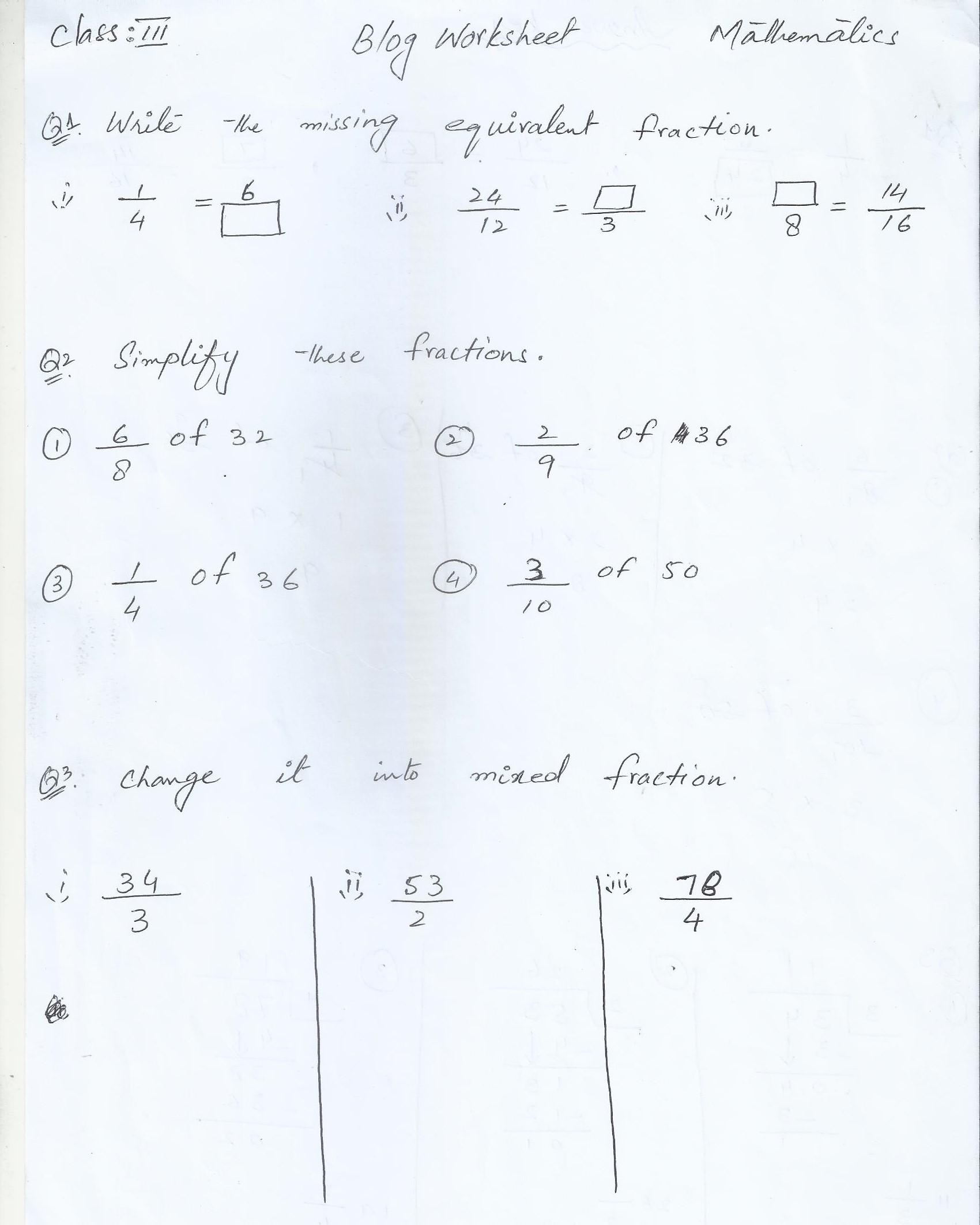 Class 3 Home Work Worksheets Paf Juniors