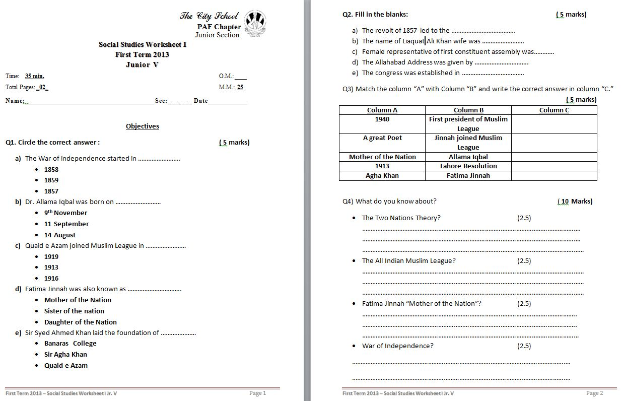 Class 5 Home Work Worksheets