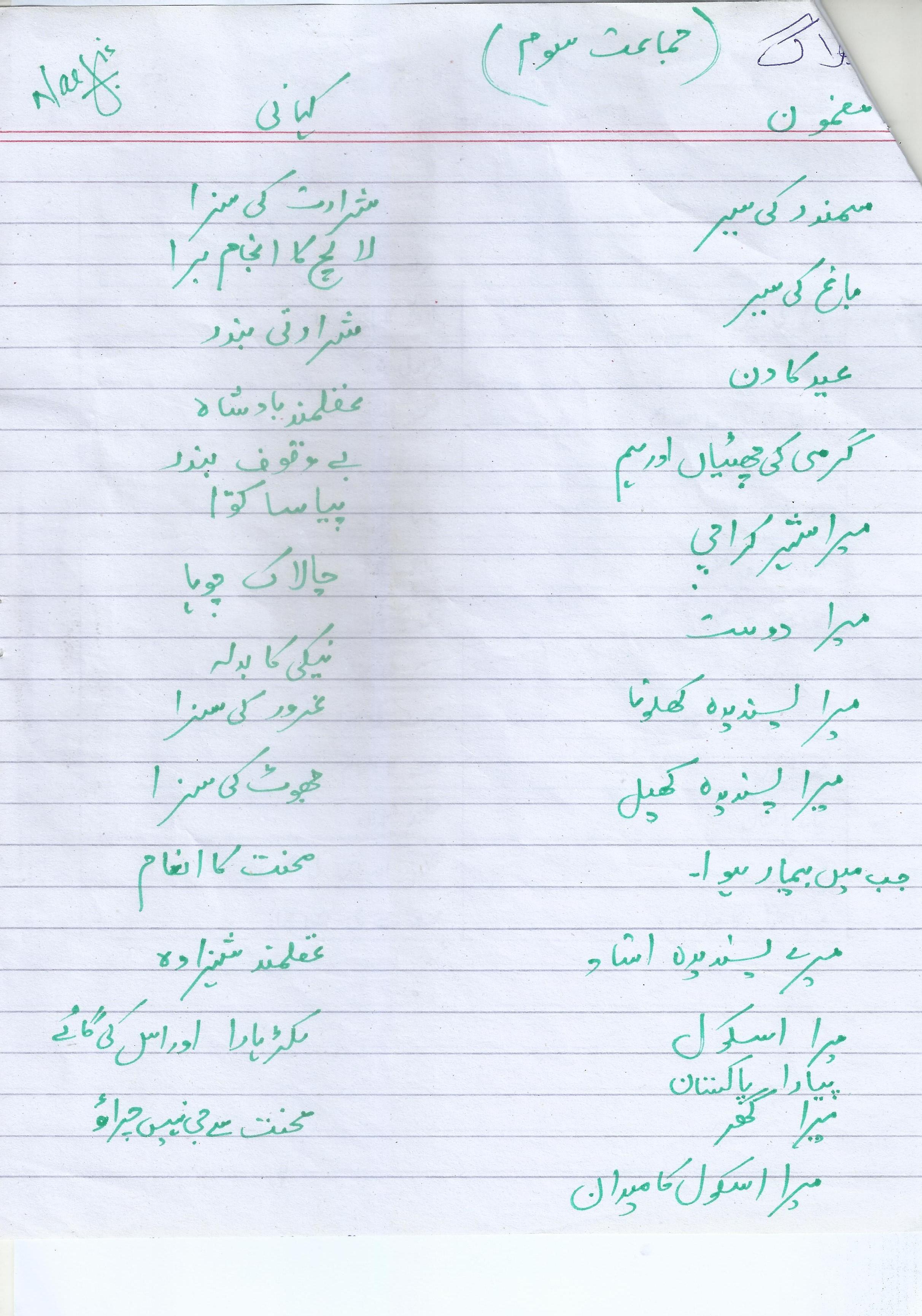 Urdu Year 3 Worksheet Answer Key Paf Juniors