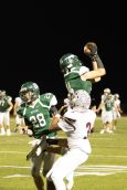 West Perry S Ian Goodling (14) intercepts a pass.