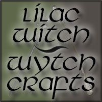 Lilac Witch Wytch Crafts over a green background with a gold broom and a silver sword