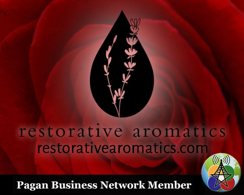 rose up close with teardrop logo and the text restorative aromatics and restorativearomatics.com