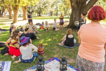 Nickole talks about Earthsong Witchcamps at our first Pagan Pride Day, in 2017. Photo: Mark Hayes Photography