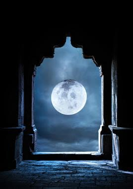 23482315 - arch silhouette in old temple at night sky with full moon premade background