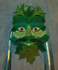 Green Man Mask from embroidered leaves