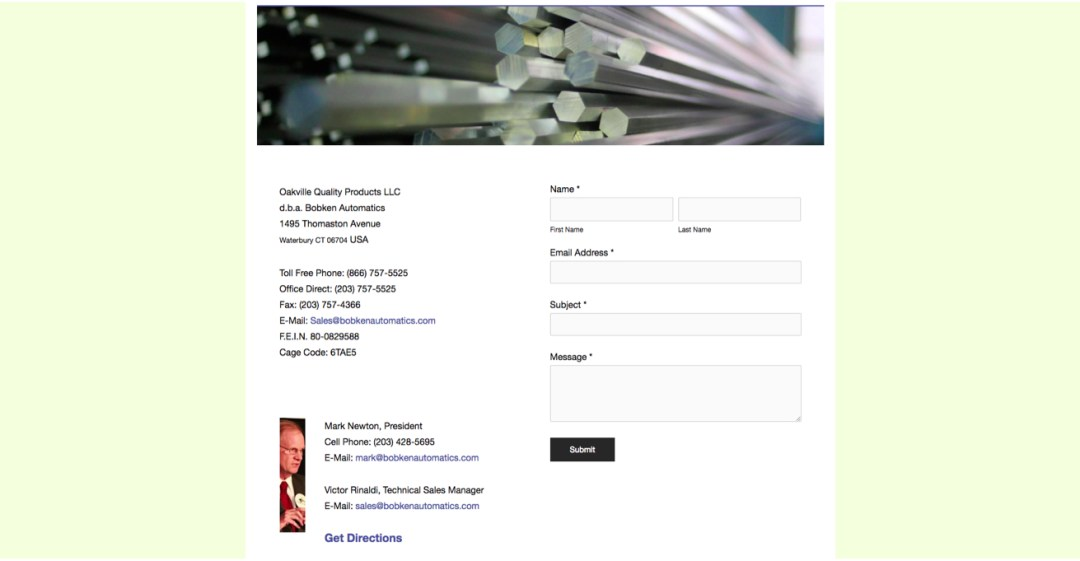 Old Contact Page Screenshot