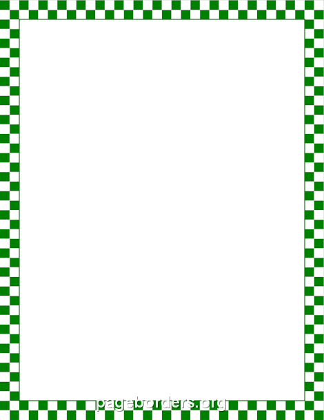 Green And White Checkered Border Clip Art Page Border