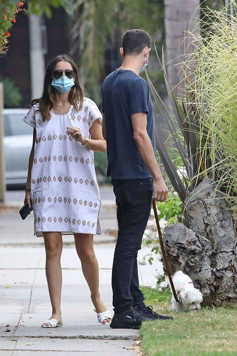 Ana De Armas seen out for a morning walk with her brother in Venice