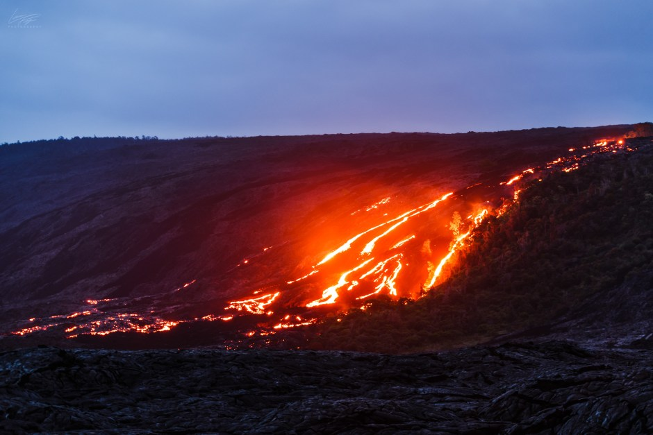 Volcanic Tides - lava rivers coming down the slopes Kilauea Volcano in Hawaii.