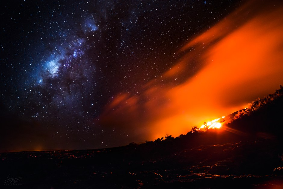 Volcanic Tides - Milky Way above the active lava flows of Kilauea Volcano.