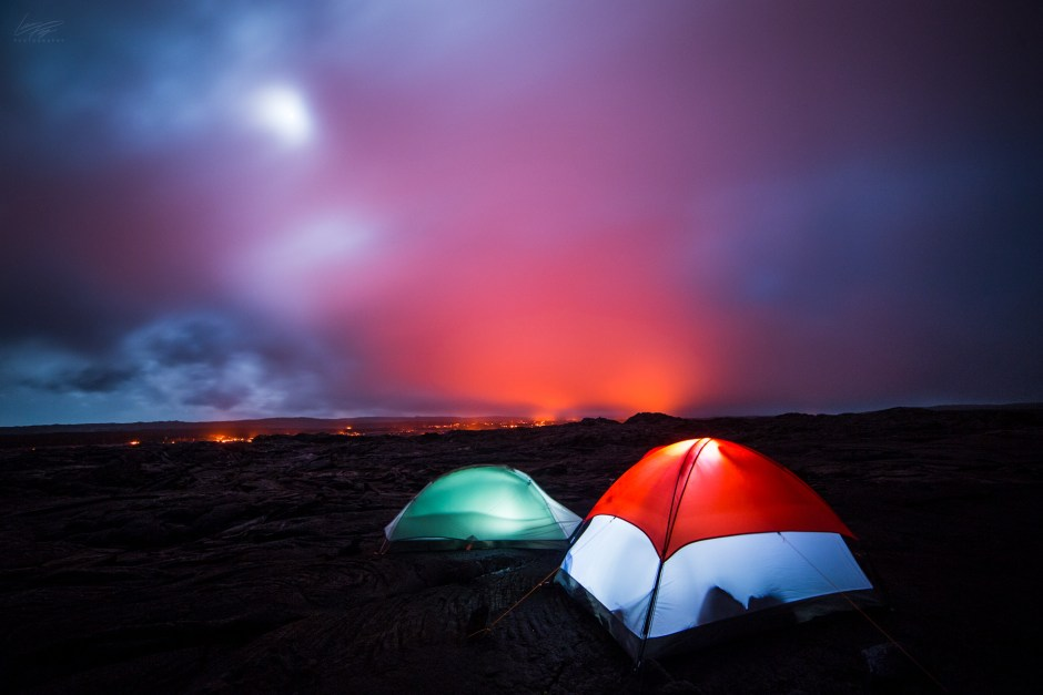 Volcanic Tides - BTS base camp near the flowing lava in Hawaii.