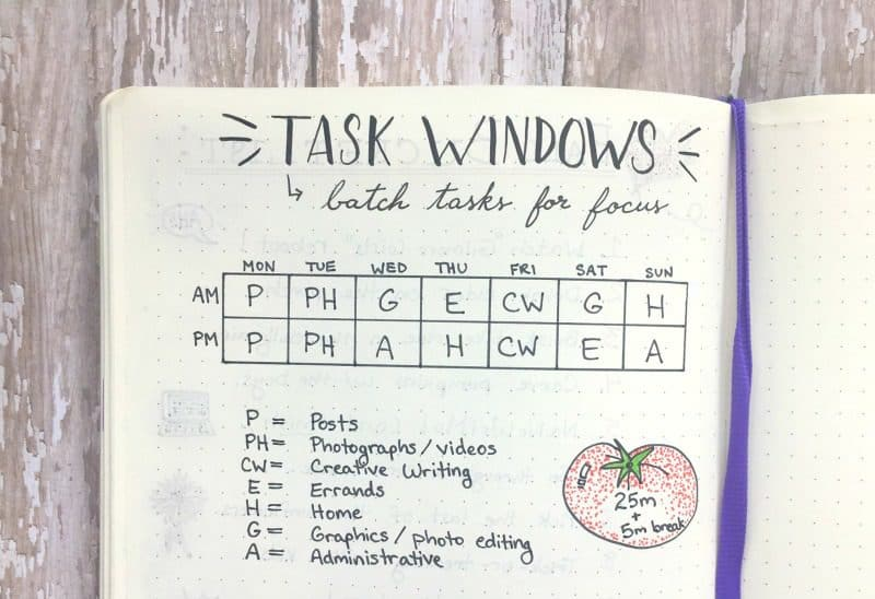 Task batching saves time and boosts productivity. Try it in your bullet journal!