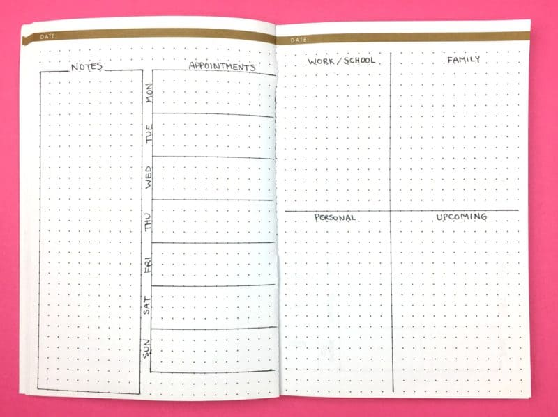 The Compartmentalizer; Weekly Bullet Journal Layouts | pageflutter.com