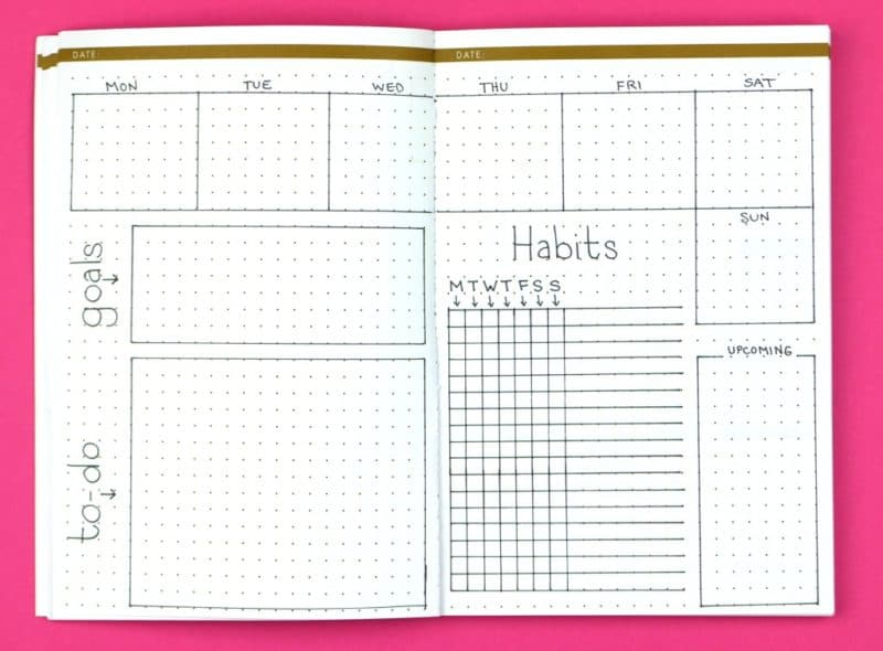 Structured Sally; Weekly Bullet Journal Layouts | pageflutter.com