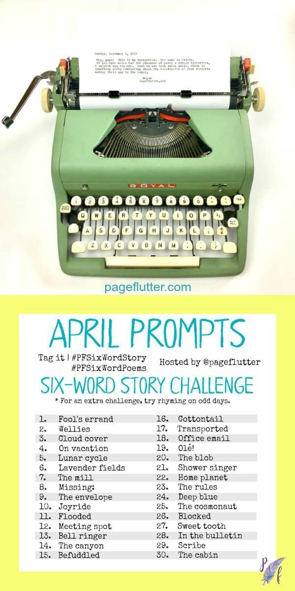 April challenge prompts for the #PFSixWordChallenge. Daily creative exercise for your Bullet Journal!