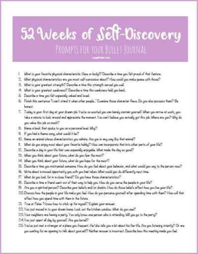 Printable Journal Prompts for Self Discovery