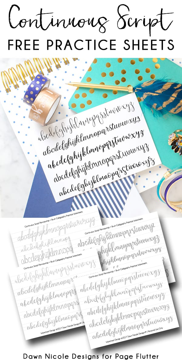 Continuous Script Penmanship Practice Worksheets.Develop your BUJO penmanship and brush calligraphy skills with these free practice worksheets!