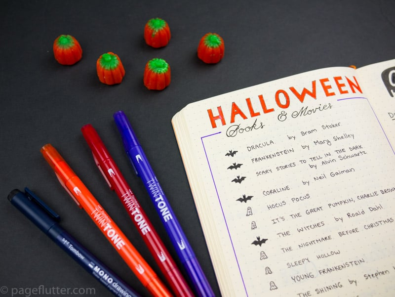 Lists for Halloween journal pages, smash book, Bullet Journal, or scrap journal.